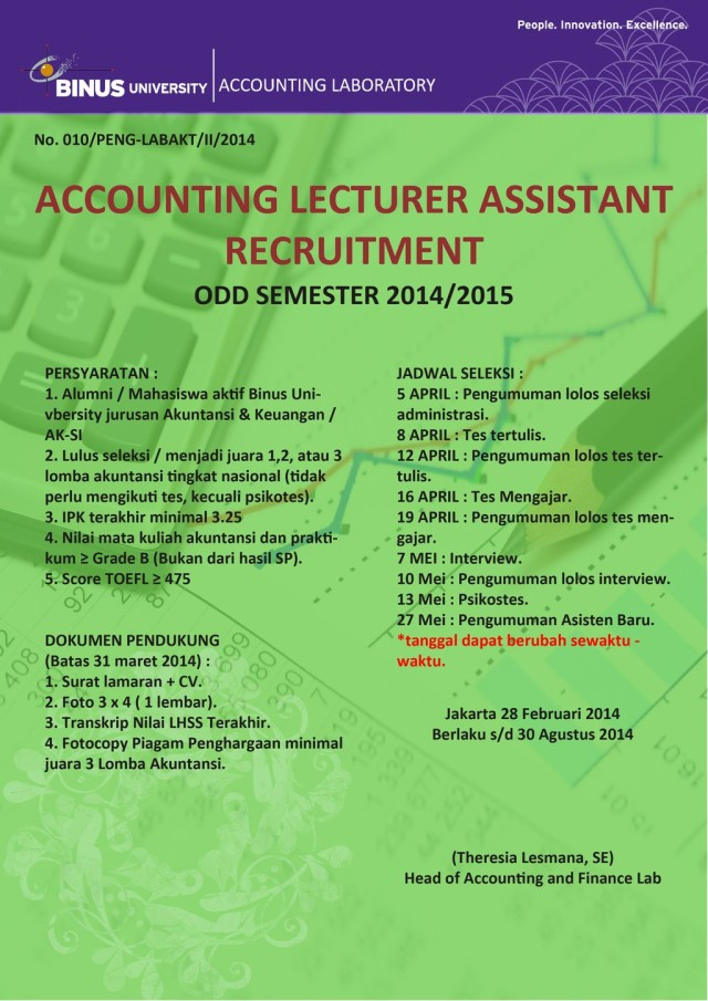 ACCOUNTING LECTURER ASSISTANT RECRUITMENT