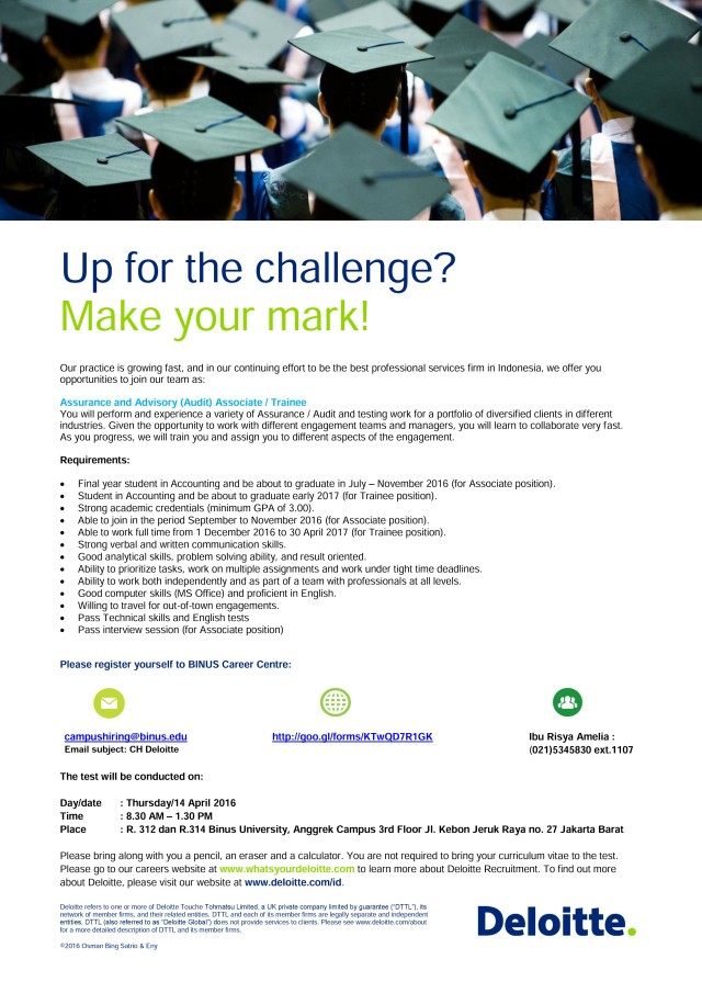 Deloitte Campus Recruitment - Poster 2016 - Acc&Fin BINUS