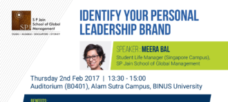 Guest Lecture SP Jain : Identify Your Personal Leadership Brand