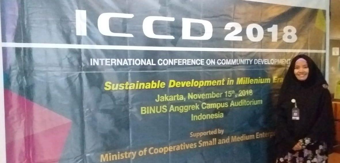 Lidiawati presentasi hasil penelitian pada ICCD 2018