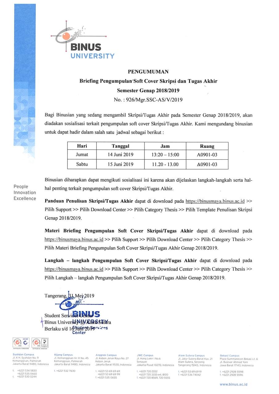 Pengumuman Briefing Pengumpulan Soft Cover Skripsi Dan Tugas Akhir Semester Genap 2018 2019 Accounting